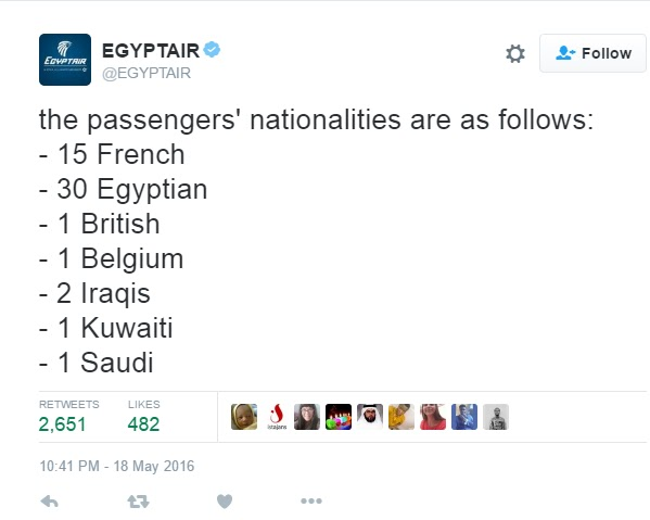 Egypt Air Release List Of Nationalities Of Passengers On Crashed Flight #MS804