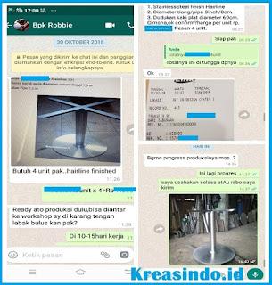 Kaki Meja Stainless Bundar pesanan Bpk Robbie di Lebak Bulus Jakarta Selatan