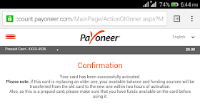 Payoneer Card Activation confirmation Notification