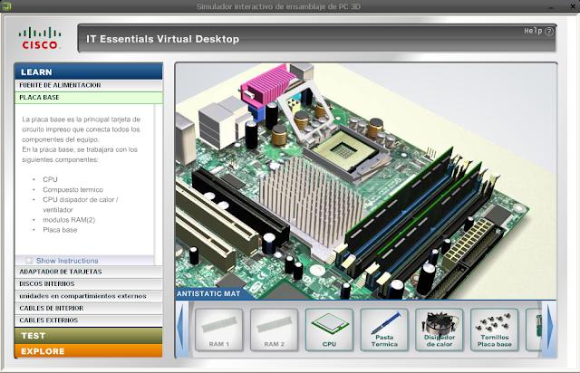 Simulador interactivo de ensamblaje de PC-3D - Español/inglés