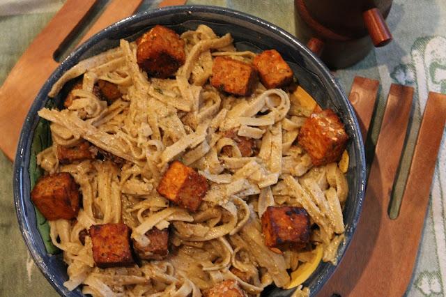 Vegan Pesto Pasta with Spicy Tempeh