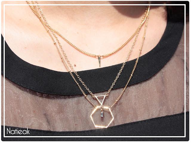 mailles des colliers géométriques dorés Happiness boutique