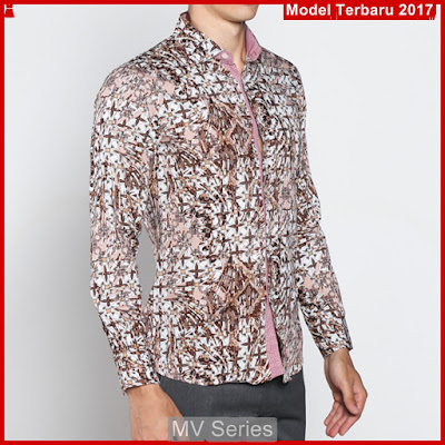 MV152 Model Kemeja Cowok Batik Slimfit Panjang BMGShop