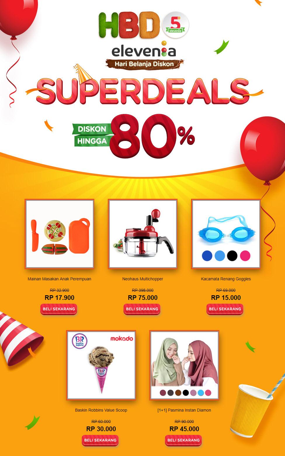 #Elevenia - #Promo HBD ke-5 Dapatkan Super Deal Diskon Hingga 80%