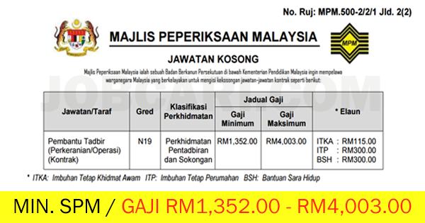 Jawatan Kosong Pembantu Tadbir N19 Di Majlis Peperiksaan Malaysia Mpm Minimum Spm Gaji Rm1 352 00 Rm4 003 00 Jobcari Com Jawatan Kosong Terkini