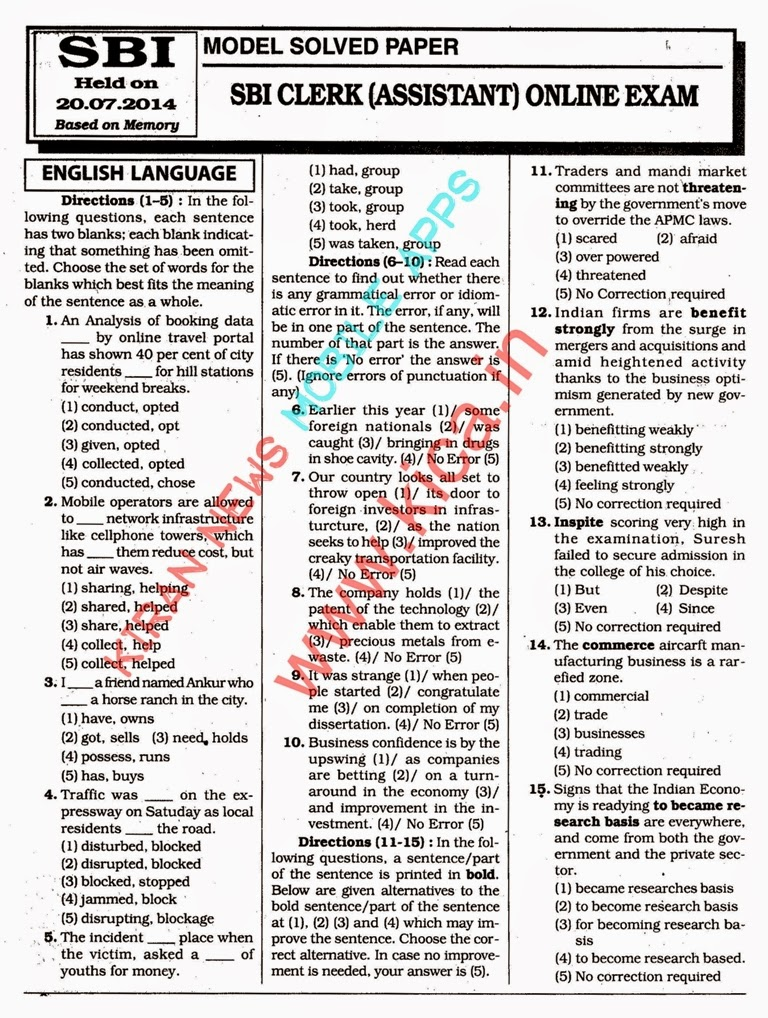 Sbi Clerk Previous Question Papers Pdf