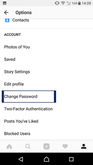 instagram Change Password
