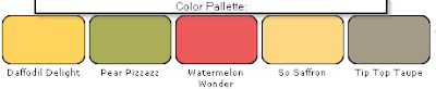 color Pallette includes Daffodil Delight, Pear Pizzazz, Watermelon Wonder, Tip Top Taupe and So Saffron.