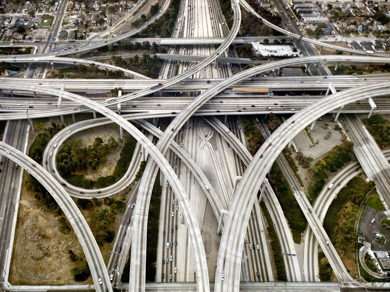 giant interchange, harbor freeway, 61 artesia freeway, Los Angeles, California, traffic