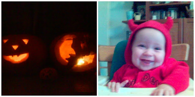 Baby in Halloween Costume and Pumpkins