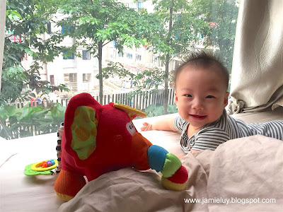 Baby with playgro elephant wearing carter's