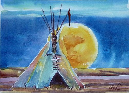 Full Moon Rising Tipi | A Gena-a-day Artist's Blog