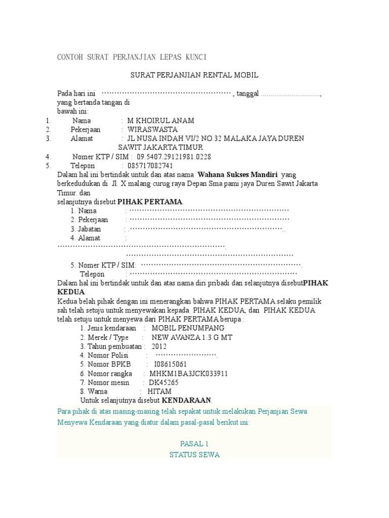 Contoh Format Surat Perjanjian Sewa Mobil