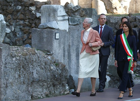 Queen Margrethe and Mayor Virginia Raggi visited Cesare Forum in Rome
