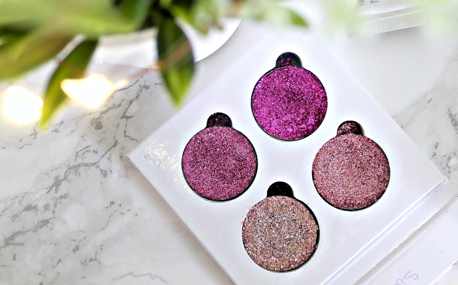 glitter eyes rose, pink glitter quad palette, review