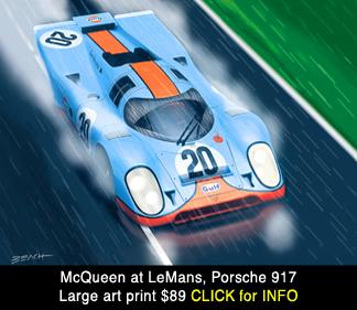 Steve McQueen Porsche 917 Lemans  art print, reproduction for sale, beacham owen, beach