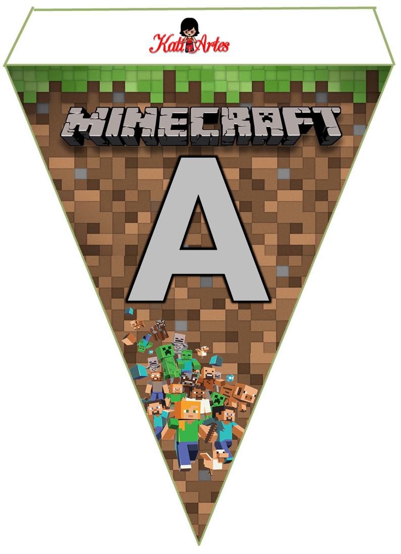 Abecedario Banderines De Minecraft Para Imprimir Gratis Alphabet