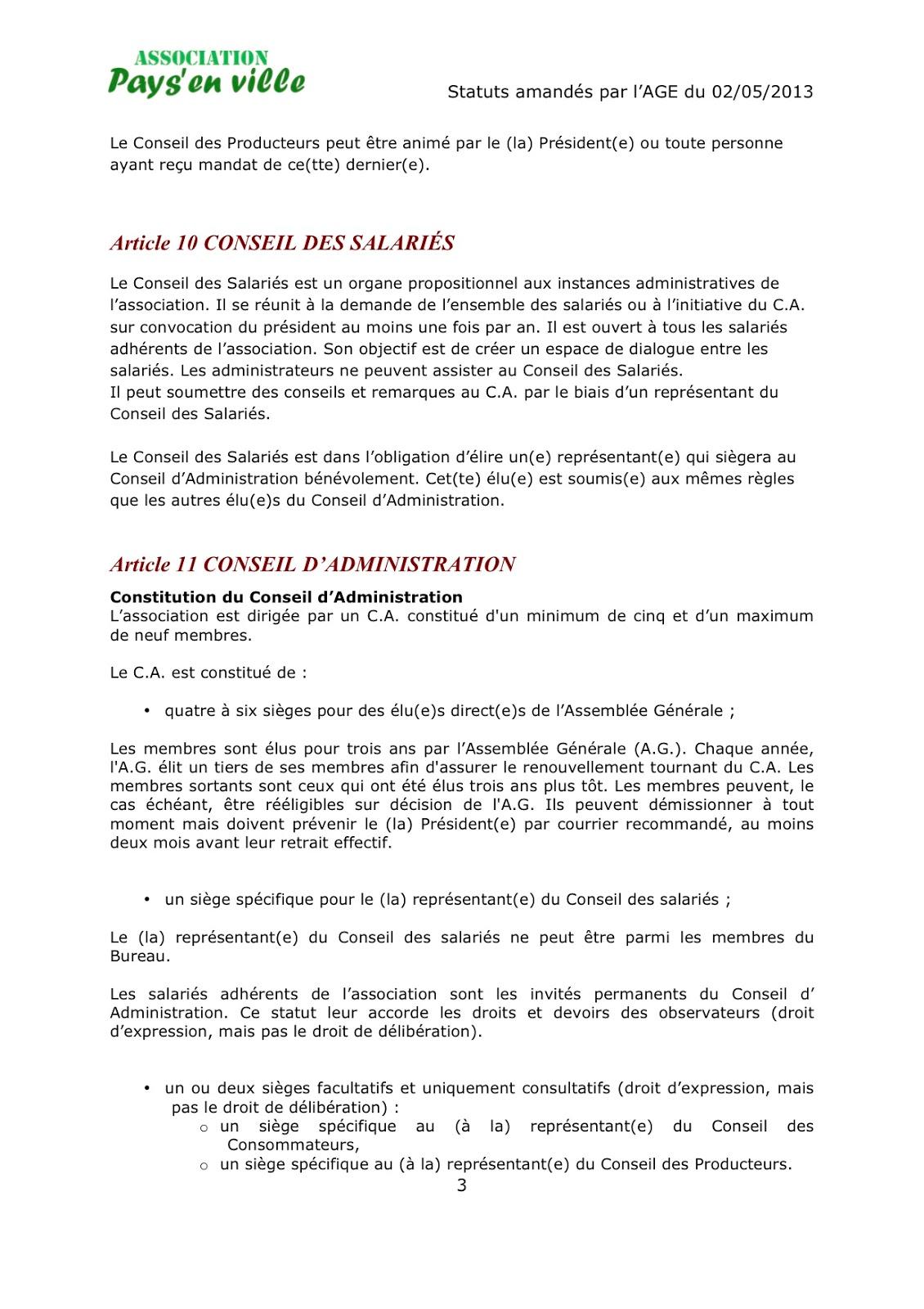 Pays En Ville Statuts Charte