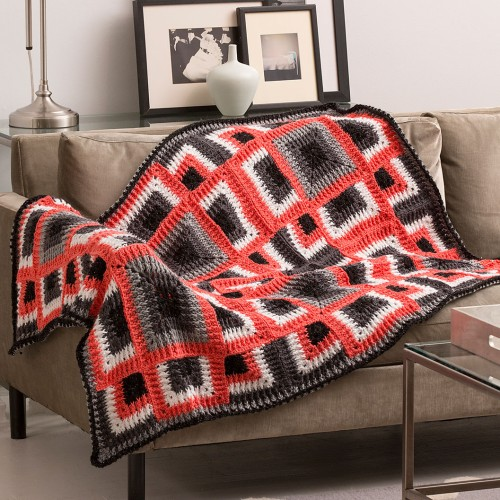 Dynamic Squares Throw - Free Pattern