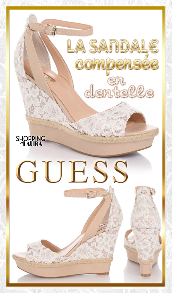 6aa1cf60fee1 Sandales compensées dentelle blanches GUESS