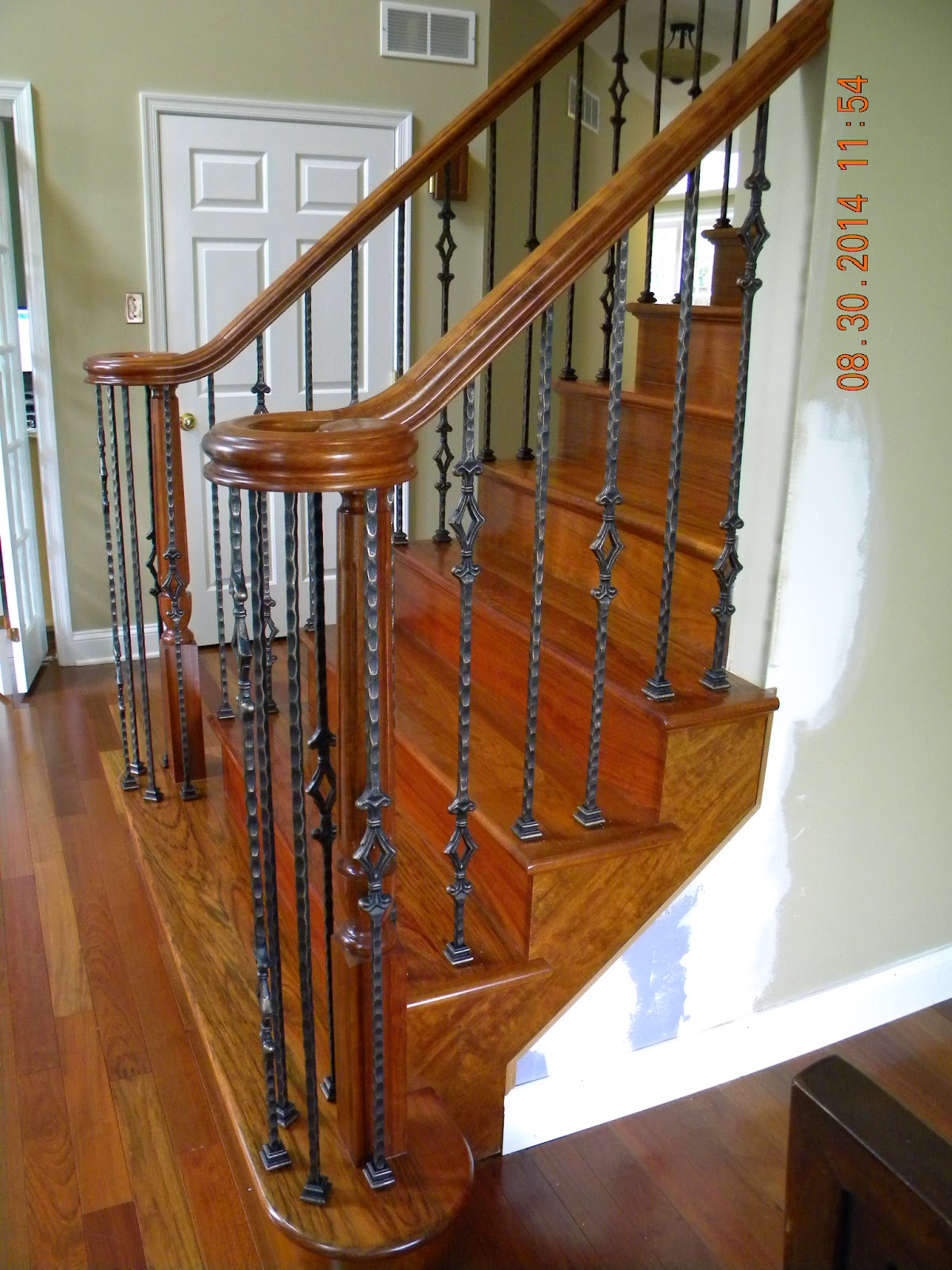 Wood Stairs And Rails And Iron Balusters New Wood Stair