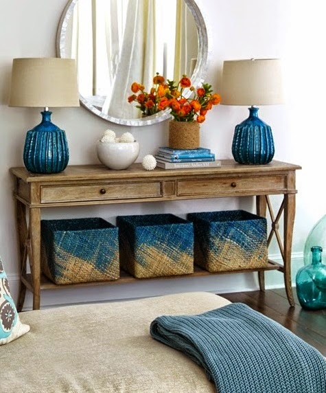 blue painted baskets
