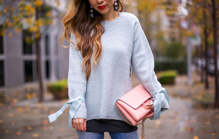 Topshop tie cuff sweater, blank denim jeans, baublebar drop earrings, christian louboutin so kate pumps, pink pumps, henri bendel crossbody bag, winter pastel outfit ideas, winter outfit ideas, san francisco street style, san francisco fashion blog