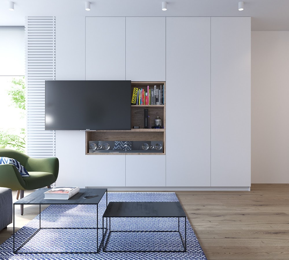 wall-mount-tv-wooden-shelves-bult-in
