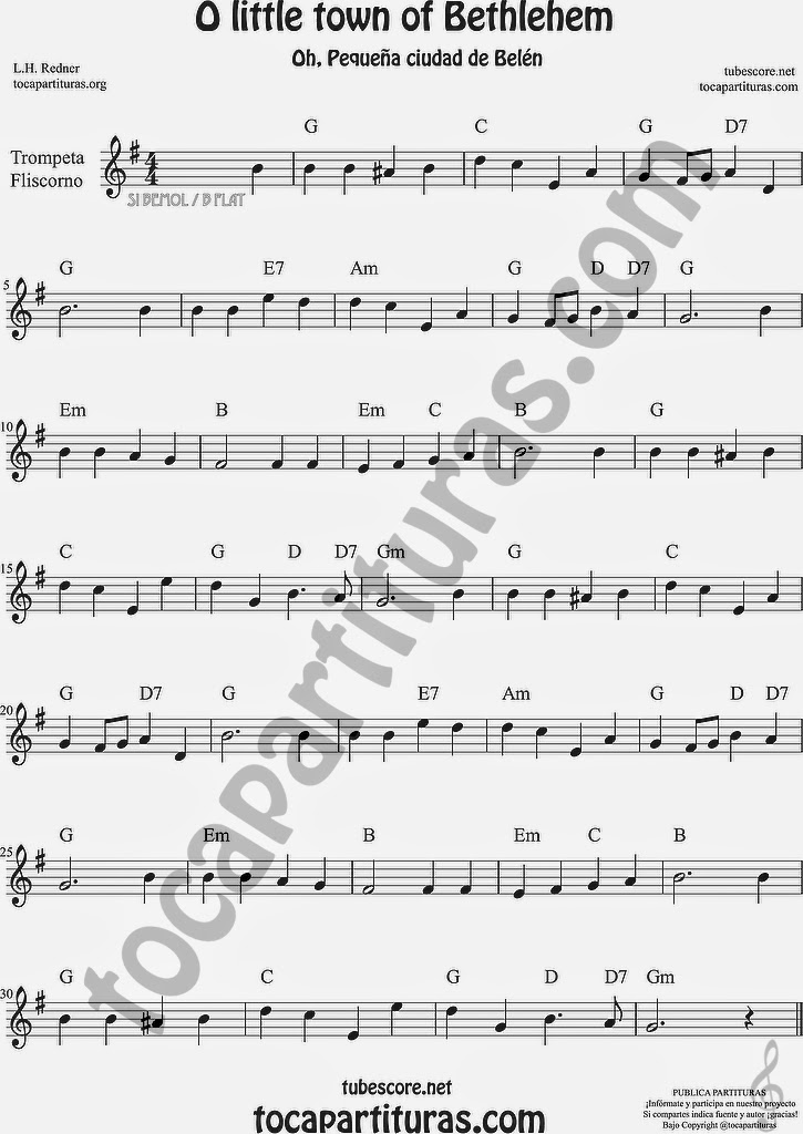 O little town of Bethlehem Partitura de Trompeta y Fliscorno Sheet Music for Trumpet and Flugelhorn Music Scores