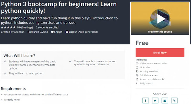 [100% Free] Python 3 bootcamp for beginners! Learn python quickly!
