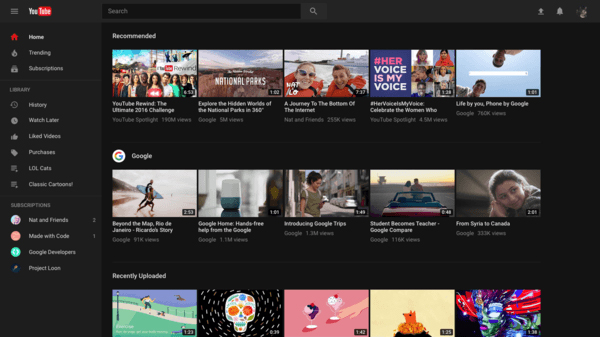 YouTube redesign is official, and there's a dark mode