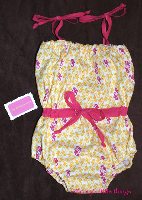 """Yellow & Pink Seahorses"" summer wear for kids"