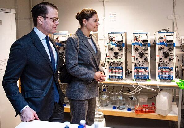 Crown Princess Victoria wore ERDEM X H and M wool suit. Tiger of Sweden top. Meghan Markle and Prince Harry