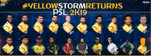 Peshawar Zalmi Squad  Team  2019