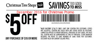 free Christmas Tree Shops coupons december 2016