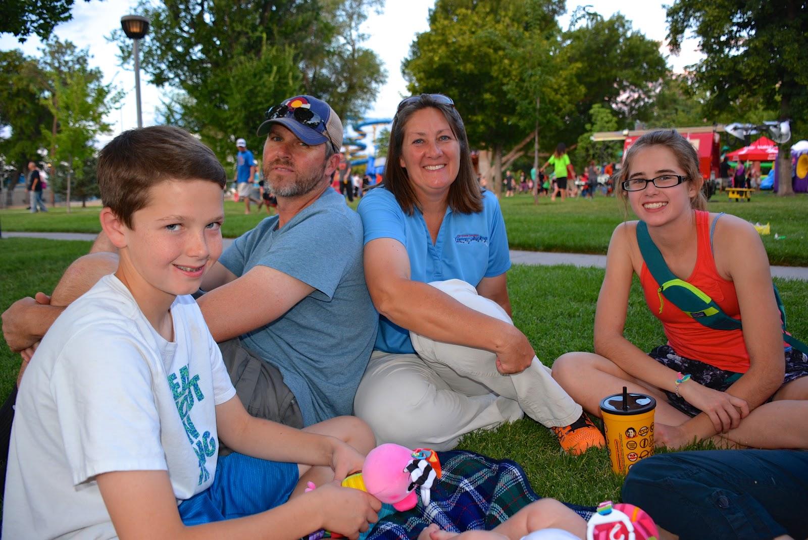 Family at an evening fair