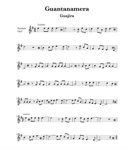 Tradicional Cubana - Guajira Guantanamera (Fácil) partituras