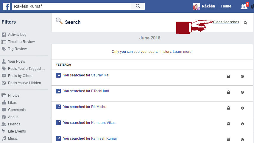 How to remove your search history on Facebook | suggested solutions