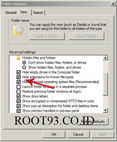 Menghilangkan tanda centang supaya ekstensi file dapat di lihat