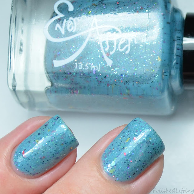 blue nail polish with glitter