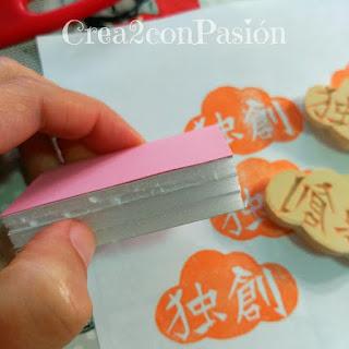 Carvado-sello-de-caucho-con-gubias-kanji-chino-en-nube-creativo-original-Crea2-con-Pasión-base-soporte-para-sello