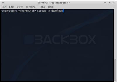 """lalu ketik perintah screen -R download pada terminal, perintah """"screen -R download"""" adalah perintah membuat screen baru dengan nama atau host download"""