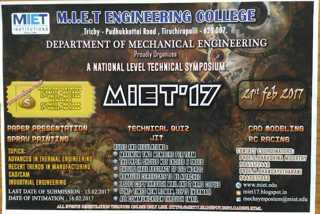 MIET'17 A National Level Technical Symposium at MIET Trichy on 21st Feb 2017