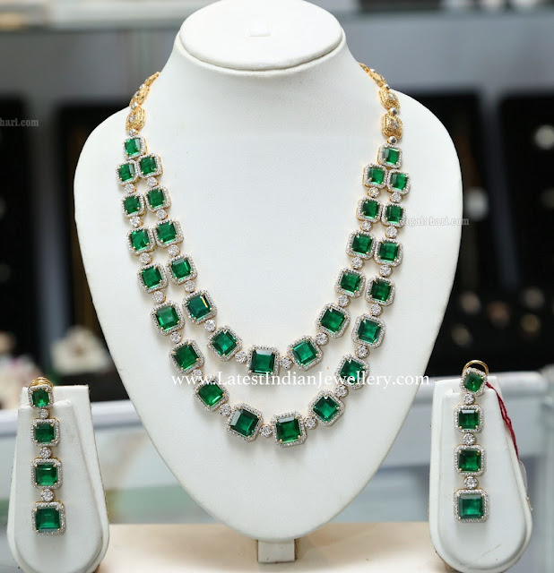 2 Step Diamonds Square Emeralds Necklace