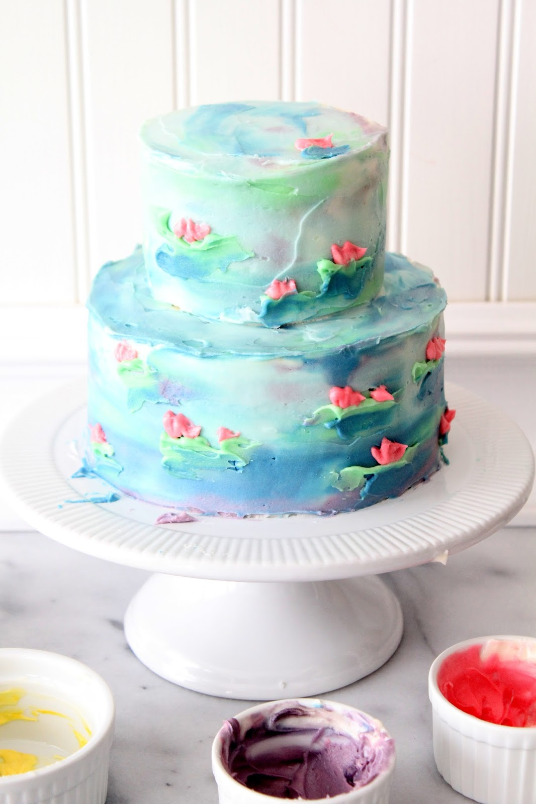 cherry tea cakes  watercolor cake