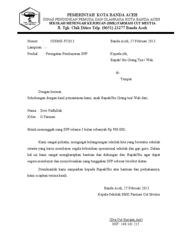 contoh surat pemberitahuanorang tua siswa yang bermasalah