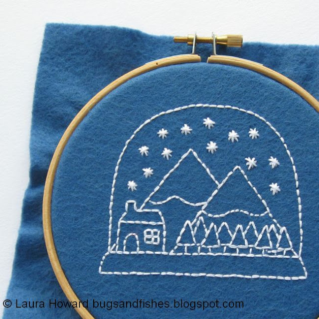 finished snow globe embroidery