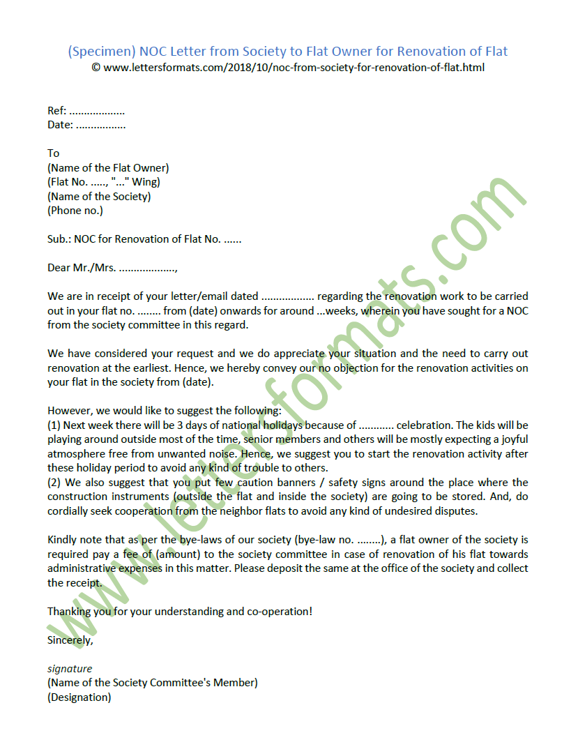 Noc Letter From Society To Flat Owner For Renovation Of Flat Sample