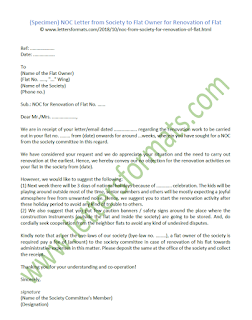 NOC Letter from Society to Flat Owner for Renovation of Flat (Sample)
