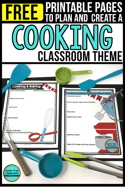 Cooking Theme Classroom: If you're an elementary teacher who is thinking about a Bakery, Baking, Cupcakes, Coffee Shop, Cafe, restaurant, or chef theme then this classroom decor blog post is for you. It'll make decorating for back to school fun and easy. It's full of photos, tips, ideas, and free printables to plan and organize how you will set up your classroom and decorate your bulletin boards for the first day of school and beyond.